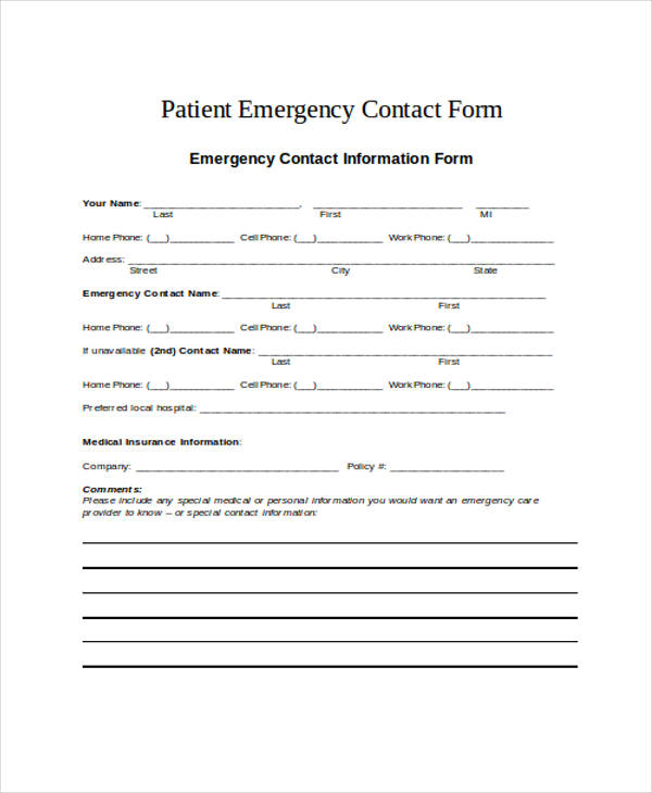 patient details emergency contact form