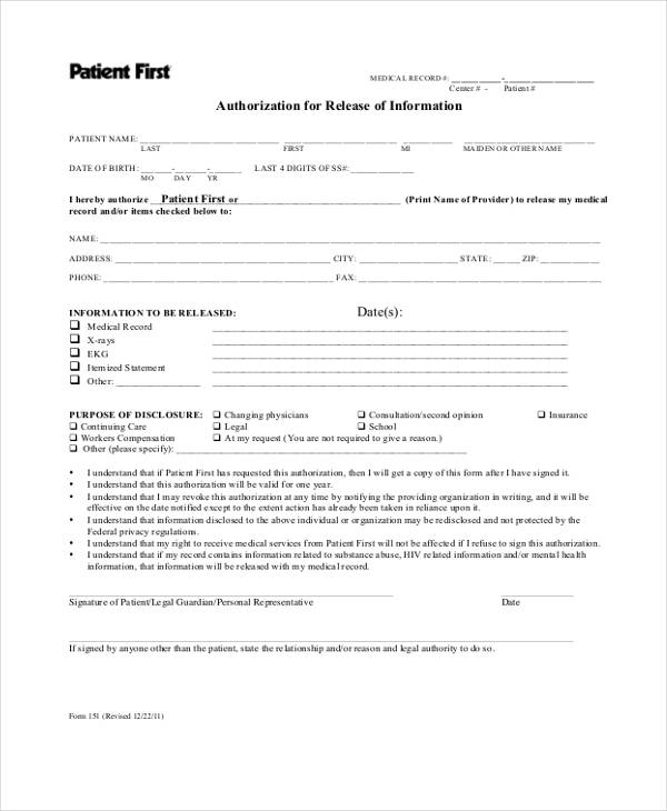patient first medical release form