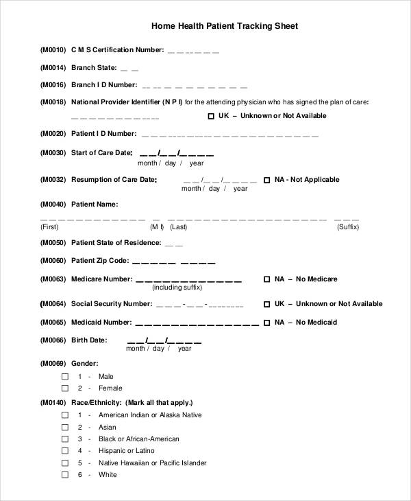 patient health tracking form