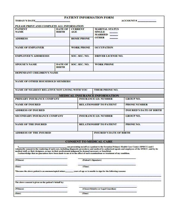 patient information medical form