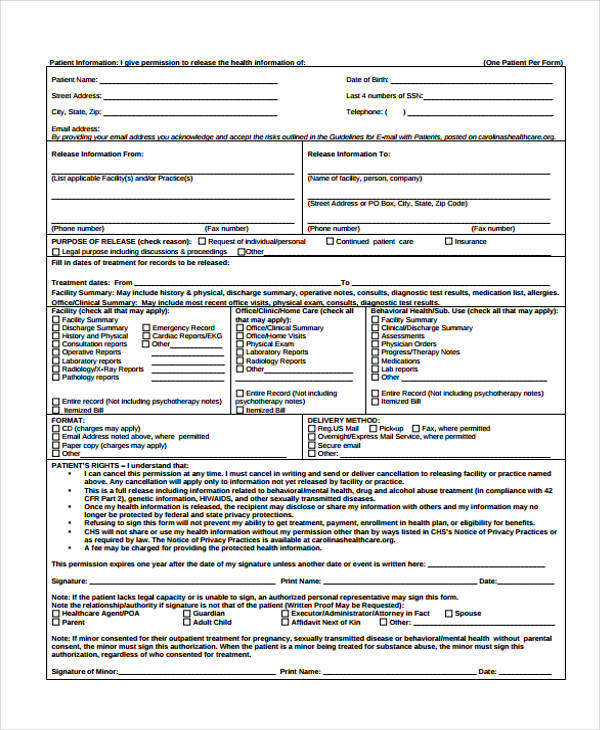 patient information release authorization form