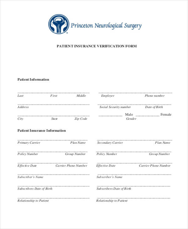 patient insurance verification form1