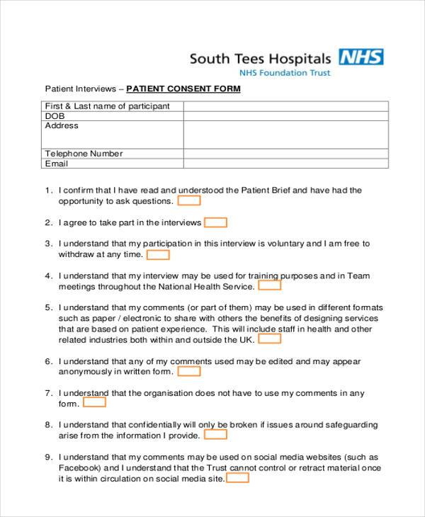 44 Consent Form Samples Free Sample Example Format Download – Interview Consent Form