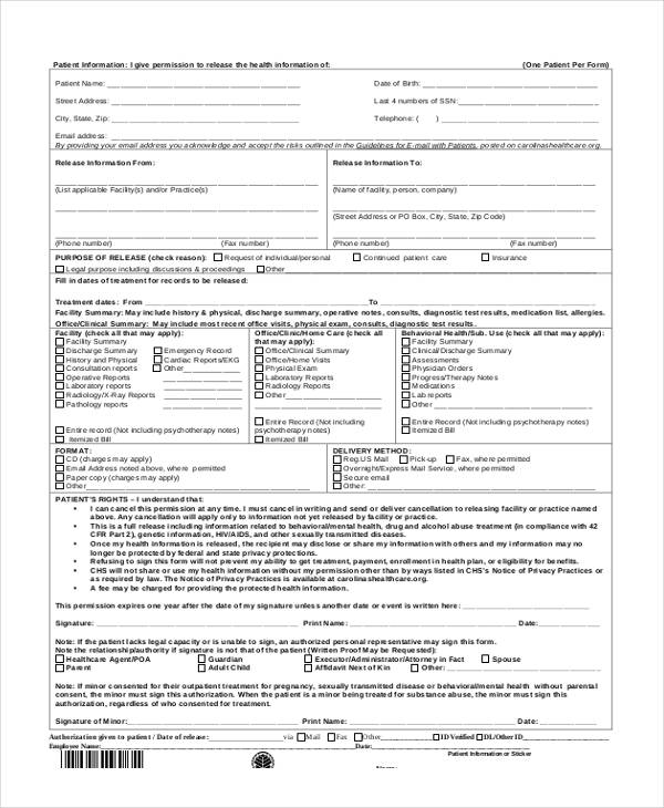patient medical information release form3