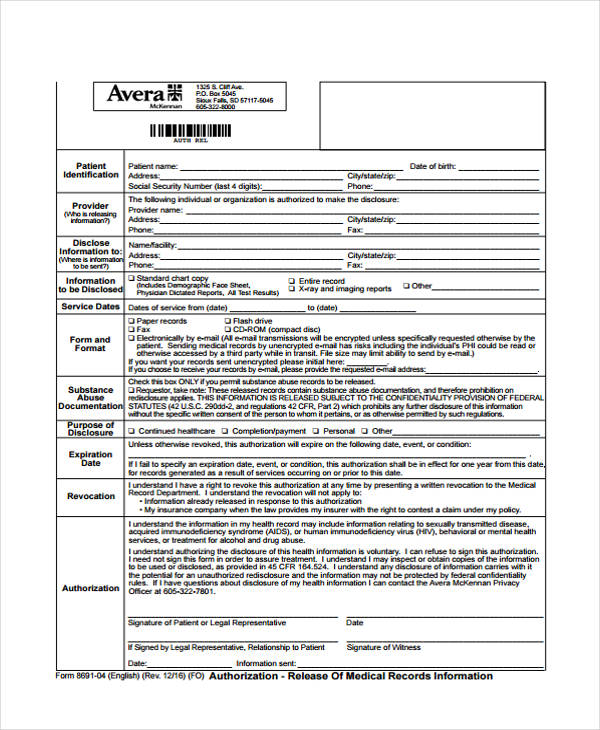 patient records release form template