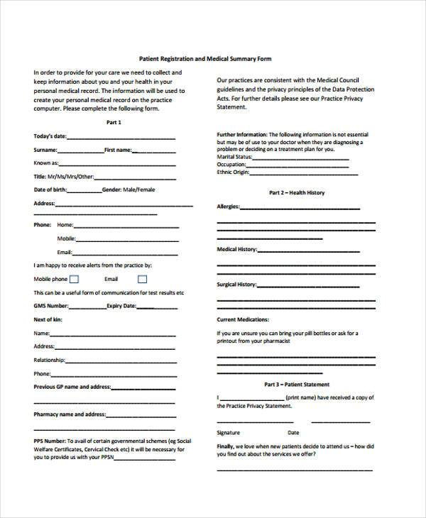 patient registration and medical summary form