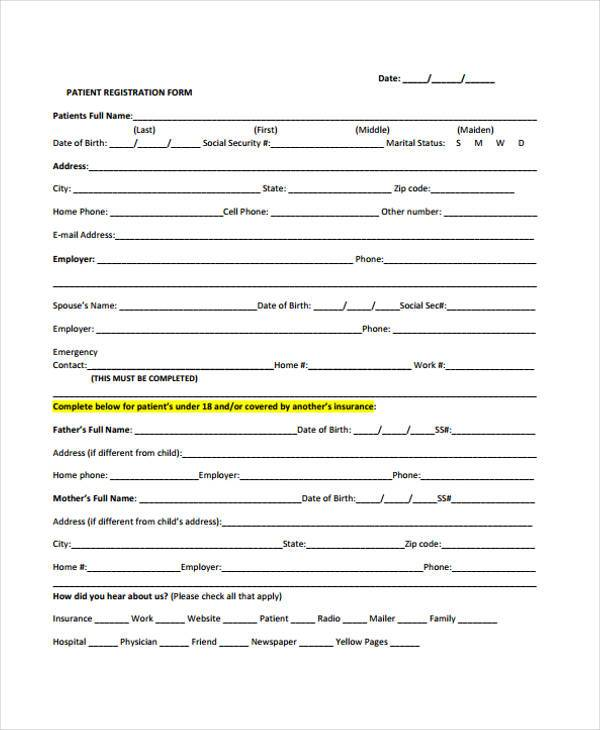 Sample Free Registration Forms