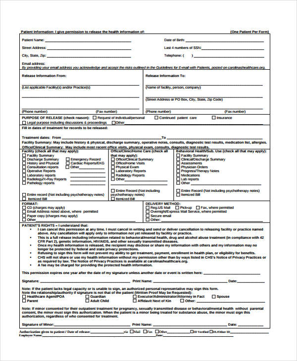 patient release health information form