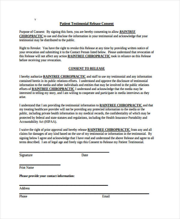 patient testimonial release consent form