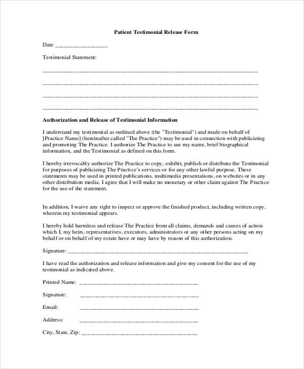 19 Free Patient Release Forms – Information Release Form Template