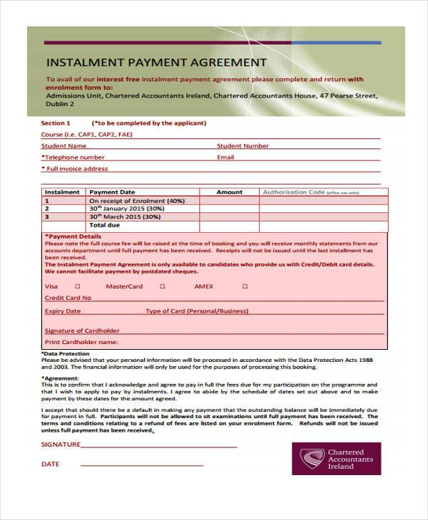 8+ Installment Agreement Sample Forms - Free Sample, Example ...