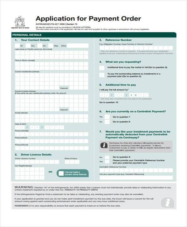 payment order application form