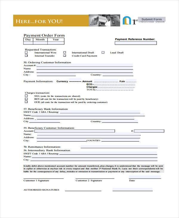 payment order form example