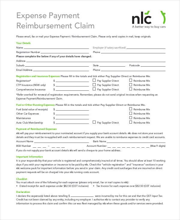payment reimbursement claim form