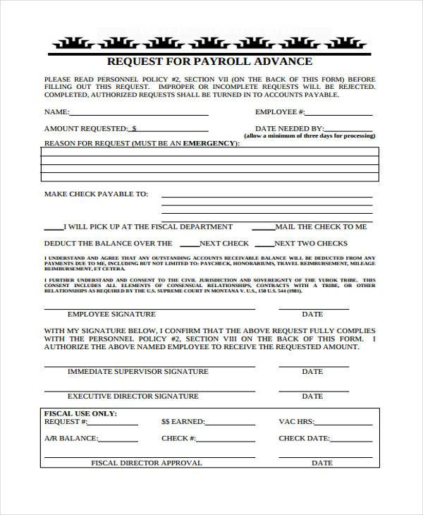 payroll advance request form sample