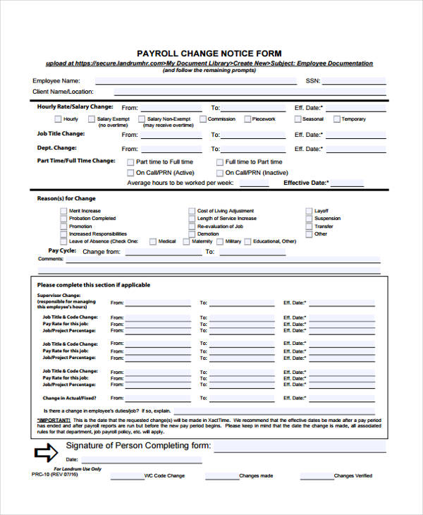 payroll change notice form