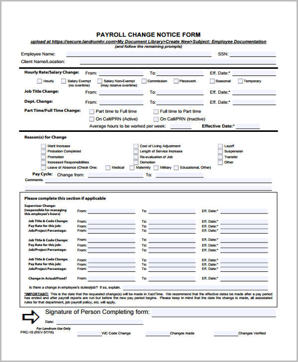 Change form template for Payroll change notice form template