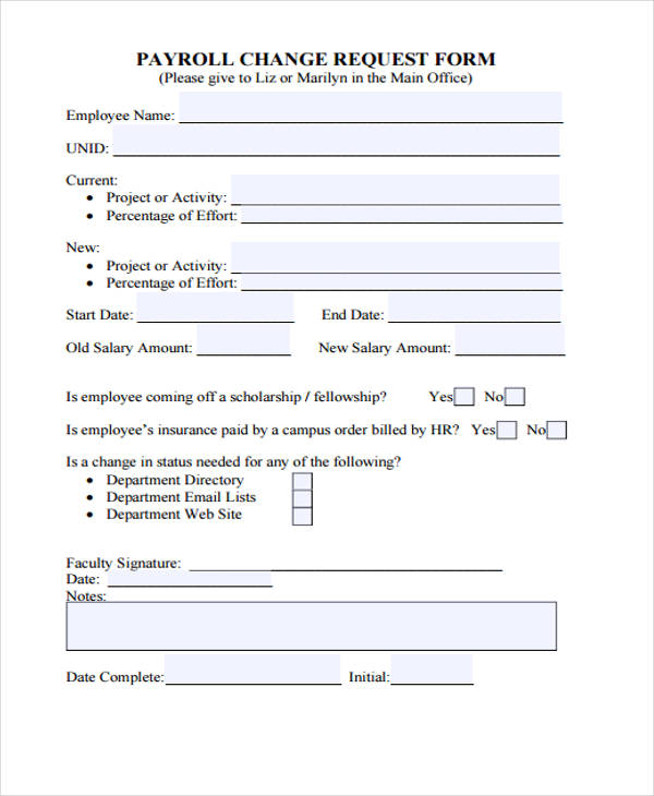 payroll change request form2