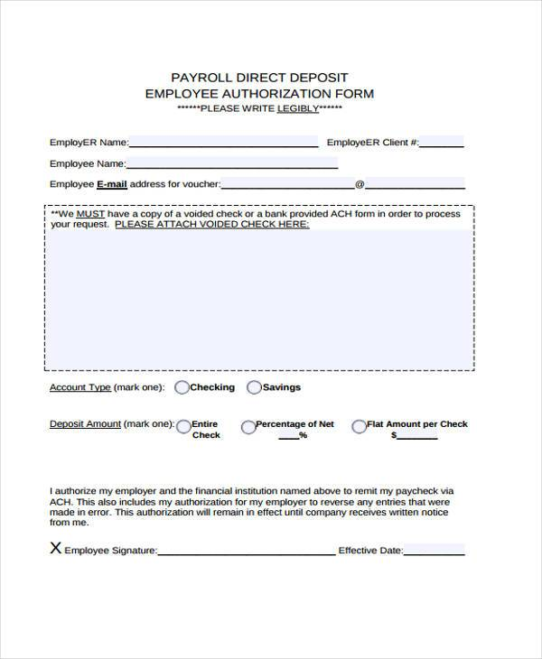 payroll direct deposit employee authorization form1