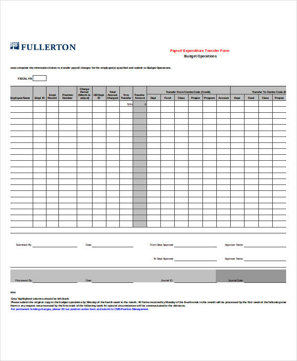payroll expenditure transfer form