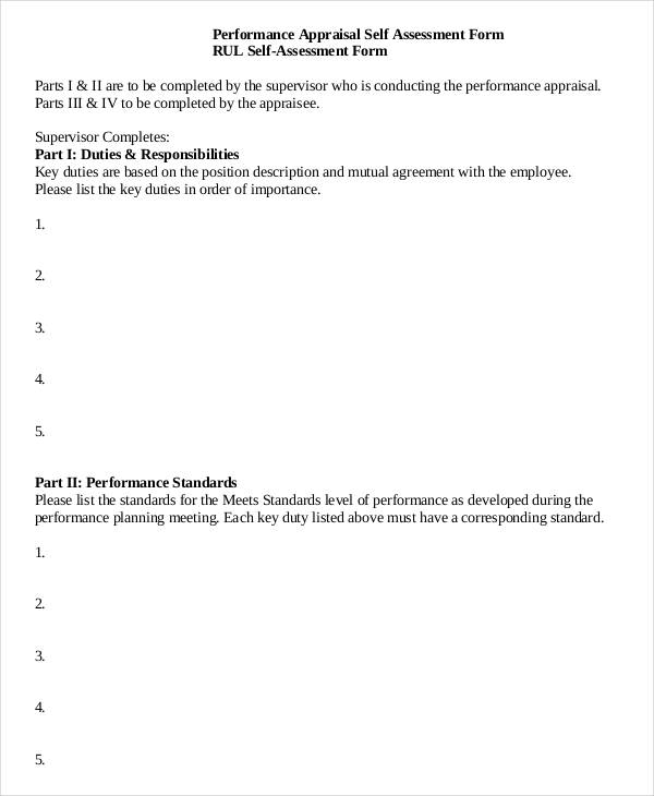 performance appraisal self assessment form