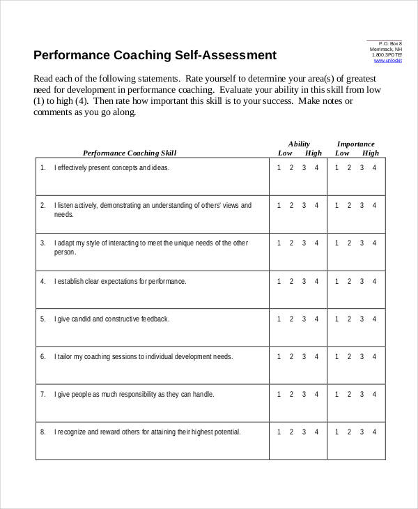 performance coaching self assessment form