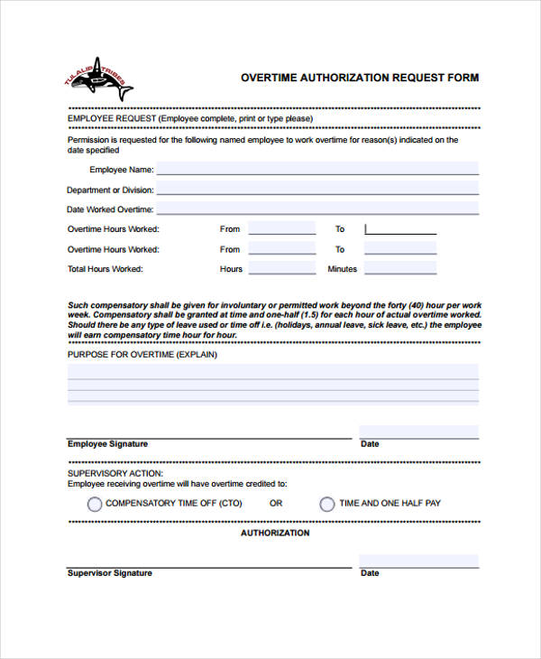Leave Authorization Form Sample  Free Sample Example Format