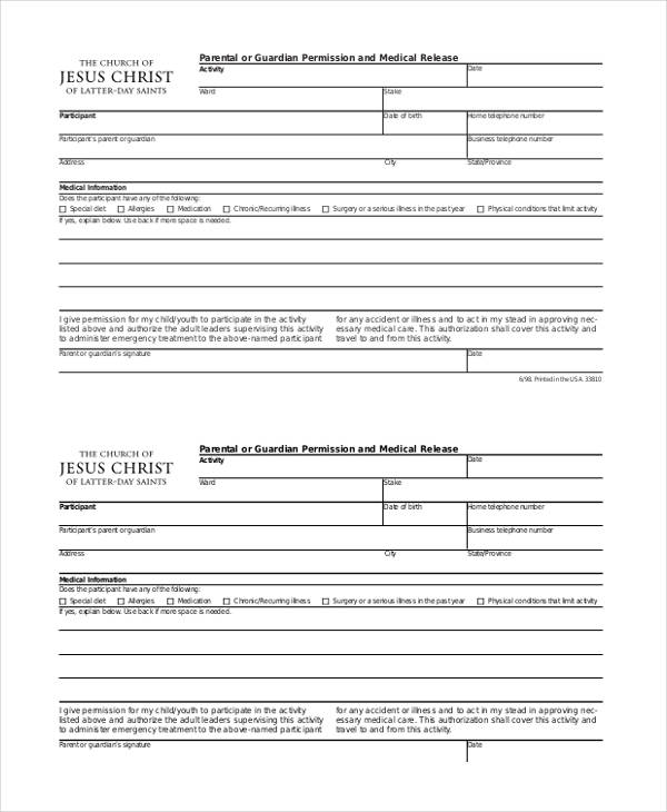 permission medical emergency release form