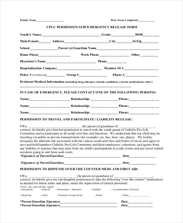 Sample Emergency Release Form