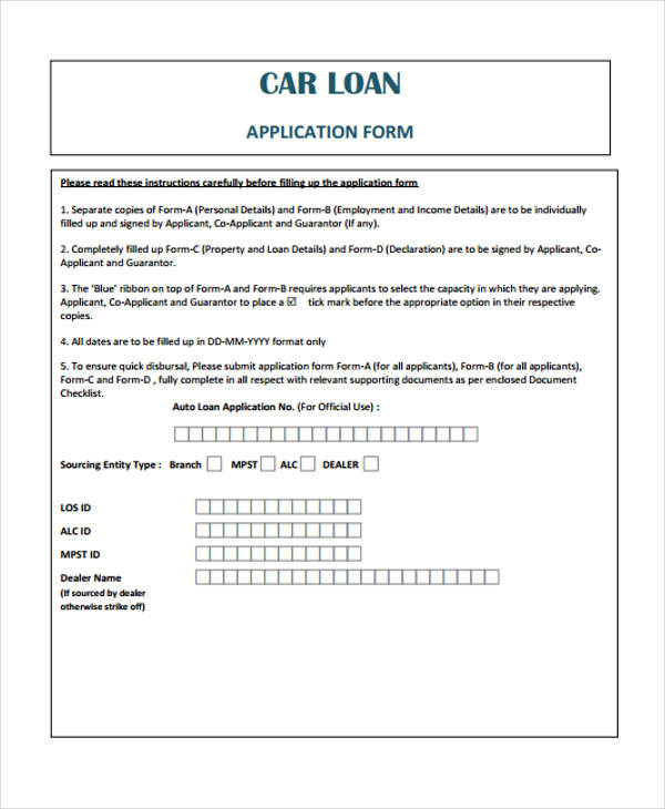 car loan application form sample