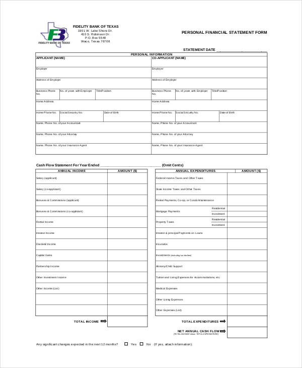 5 Financial Statement Form Sample Free Sample Example Format – Sample Personal Financial Statement
