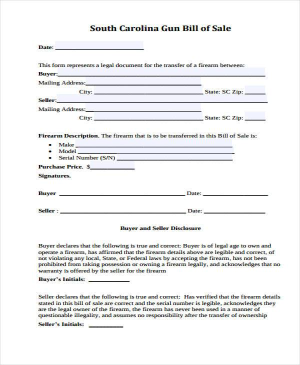 personal firearm bill of sale form