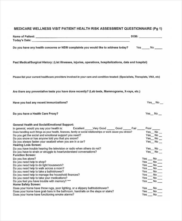 Risk assessment form template for Health assessment questionnaire template