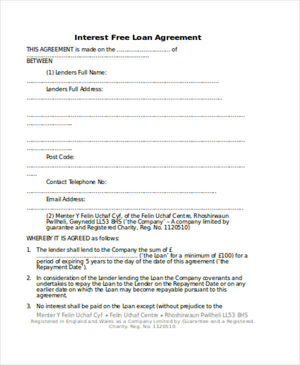 Interest Free Loan Agreement Doc