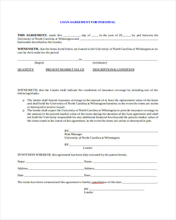 Free 37 Free Loan Agreement Forms Pdf