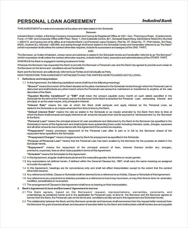 Personal Mortgage Loan Agreement Form1