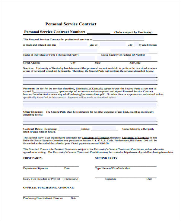 personal service contract agreement form