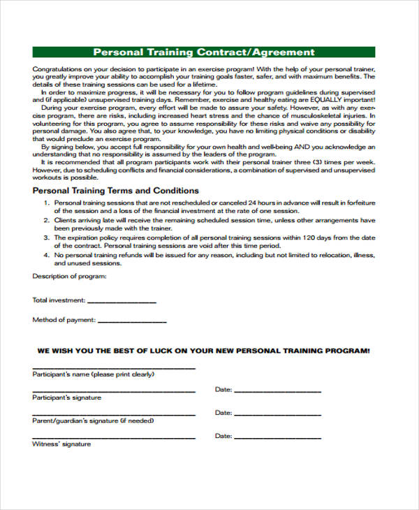 personal training contract agreement form