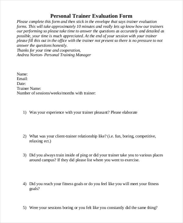 personal training session evaluation form