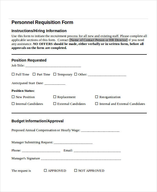 personnel requisition form sample