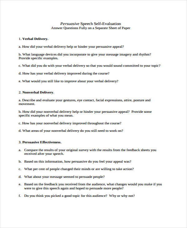 persuasive speech self evaluation question answer sheet
