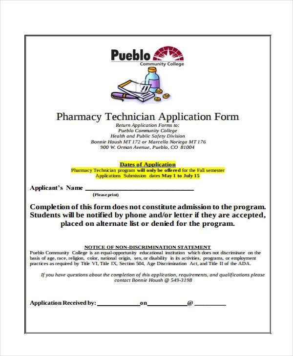 pharmacy technician job application form1
