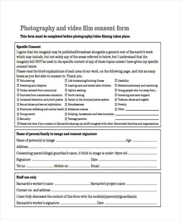 photography video consent form