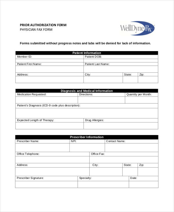 physician prior authorization form