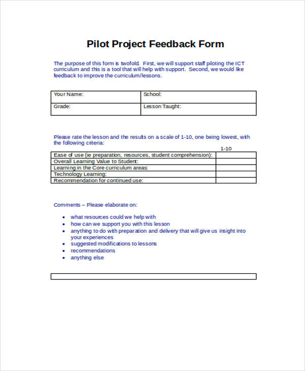 pilot student project feedback form