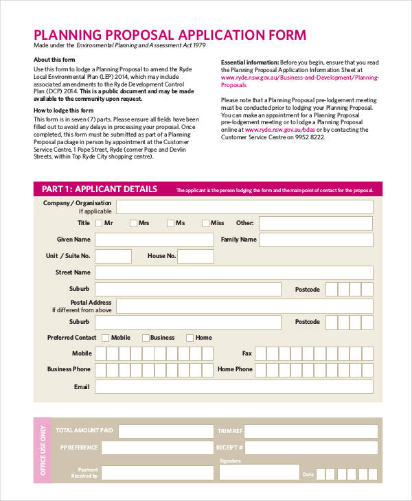 planning proposal application form