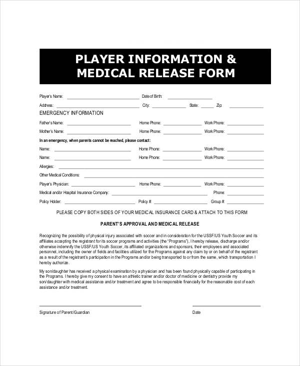 player information medical release form