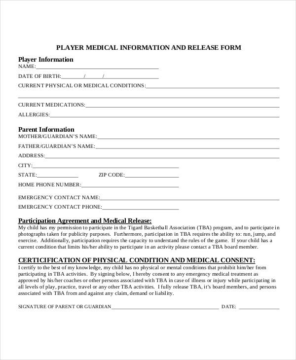 player medical informational release form