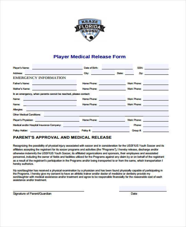 player medical release form
