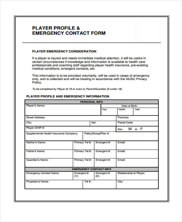 player profile emergency contact form
